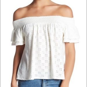 ABOUND OFF THE SHOULDER EYELET WHITE BLOUSE